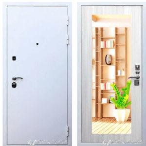 входная дверь в гатчине белая с зеркалом